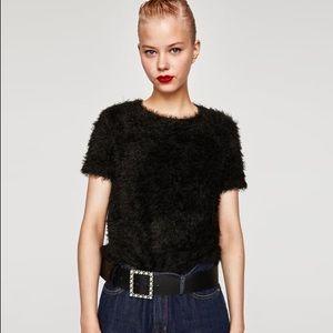 ZARA Faux fur black top